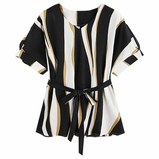 LOPILY Women's V Neckline Printed Work Self Tie Short Sleeve Blouse Tops T-Shirt (A1