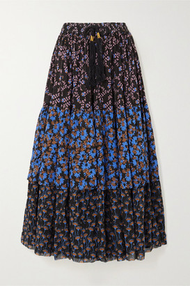 Yvonne S Tiered Printed Cotton-voile Maxi Skirt - Black