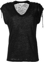 IRO lace-up T-shirt - women - Linen/Flax - S