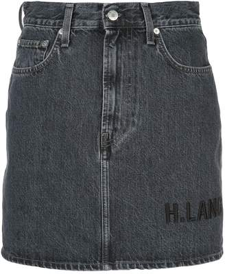 Helmut Lang embroidered logo denim skirt