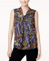 Kasper Printed Tie-Neck Top