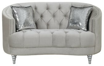 """Thumbnail for your product : Rosdorf Park Maynor 63"""" Velvet Recessed Arm Curved Loveseat"""