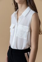 Genuine People Sleeveless Silk Button Front Top