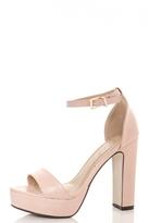 Quiz Blush Pink PU Block Heel Platform Sandals