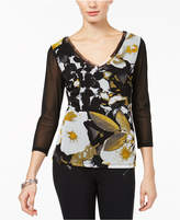 INC International Concepts I.n.c. Petite Printed Illusion-Sleeve Top, Created for Macy's