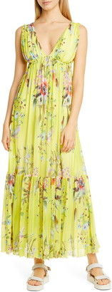 Fuzzi Floral Print Mesh Maxi Dress