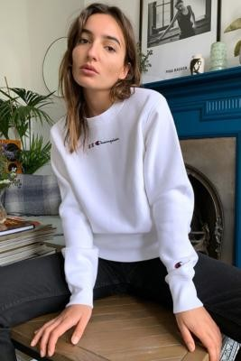 Champion Triple C Logo Crew Neck Sweatshirt - White XS at Urban Outfitters