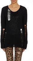 R 13 Women's Distressed Open-Knit Sweater-BLACK