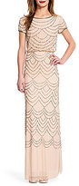 Adrianna Papell Beaded Short Sleeve Blouson Gown