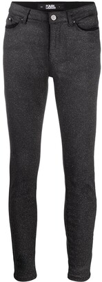 Karl Lagerfeld Paris Mid-Rise Sparkle Skinny Jeans