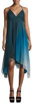 Halston Sleeveless Ombre Flowy Dress, Atlantic