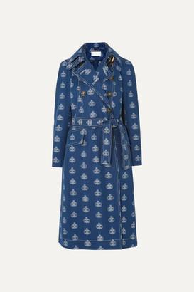 Chloé Belted Cotton-jacquard Trench Coat - Dark denim