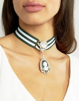 Asos Statement Cameo Ribbon Choker Necklace