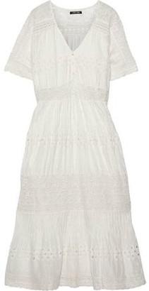 Love Sam Diamond Embroidery Lace-trimmed Swiss-dot Cotton Midi Dress