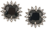 Carolee Hematite-Tone Black Stone and Crystal Stud Earrings