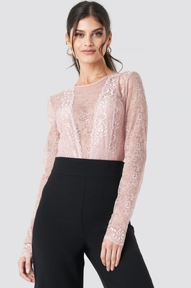 NA-KD Long Sleeve Lace Bodysuit Pink