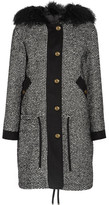 Moncler Lara Shearling-trimmed Tweed Down Coat - Black