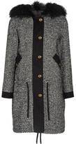 Moncler Lara Shearling-trimmed Tweed Down Coat - Black
