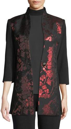 Misook Plus Size Metallic Floral-Inset Jacket