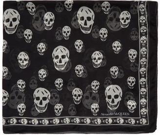 Alexander McQueen Black Silk Classic Skull Scarf