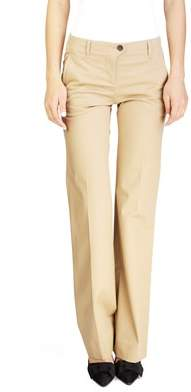 Miu Miu Women's Cotton Slim Straight Chino Pants Brown