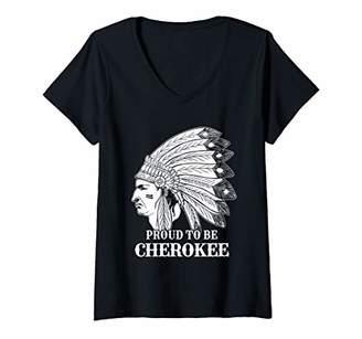 Womens Native American Cherokee V-Neck T-Shirt