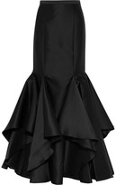 Badgley Mischka Ruffled Satin Maxi Skirt