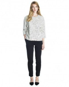 Marimekko White Nattu Kiss Print Thick Knit Loose Top - M - White