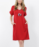 Lydiane Women's Tee Shirt Dresses DK - Dark Red V-Neck Roll-Cuff Pocket T-Shirt Dress - Women
