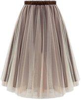 Chouyatou Women's Vintage Elastic High Waist Tulle Flared Skirt