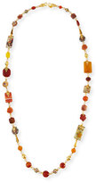 Jose & Maria Barrera Long Decoupage & Agate Beaded Necklace, 50""