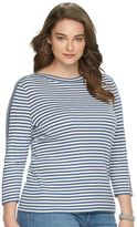 Chaps Plus Size Striped Boatneck Tee