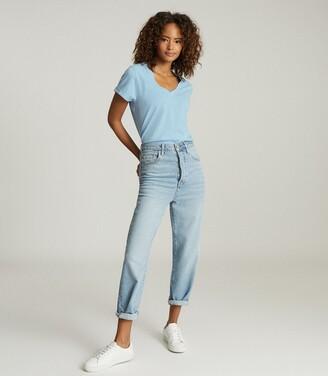 Reiss Luana - Cotton-jersey V-neck T-shirt in Blue