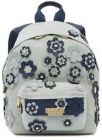 Zac Posen Eartha Leather Trimmed Hex Floral Applique Small Backpack