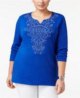 Karen Scott Plus Size Embellished Split-Neck Top, Only at Macy's