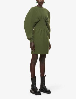Bottega Veneta Dolman-sleeved flared-skirt wool-blend midi dress