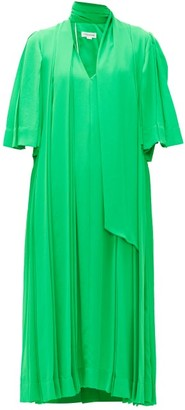 Victoria Beckham Pussy-bow Pleated Crepe Midi Dress - Womens - Green