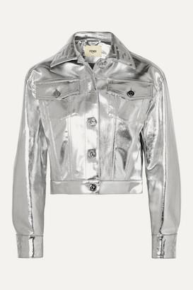 Fendi Cropped Metallic Denim Jacket - Silver