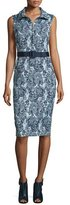 Badgley Mischka Floral-Print Collared Dress W/Belt, Navy/Multi