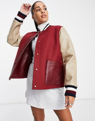 Tommy Hilfiger Tommy Hilger collections leather jacket in burgundy