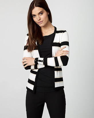 Le Château Stripe Viscose Blend Open-Front Cardigan