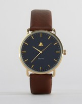 Asos Watch With Navy Face And Brown Strap