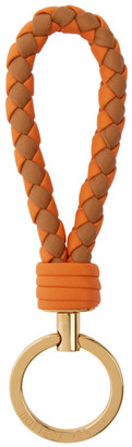 Bottega Veneta Orange and Brown Intrecciato Keychain