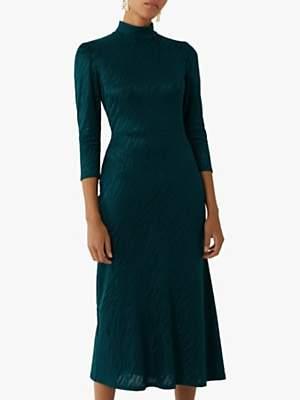Warehouse Tiger Pattern Midi Dress, Dark Green