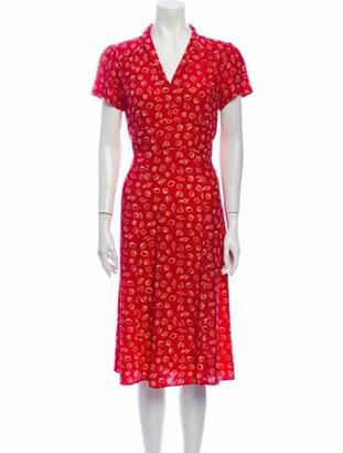 HVN Silk Midi Length Dress w/ Tags Red