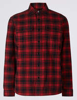 M&S CollectionMarks and Spencer Pure Cotton Checked Shacket with Pocket