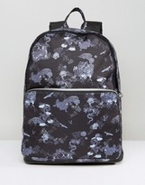 Asos Backpack With Dragon Print And Faux Leather Trims