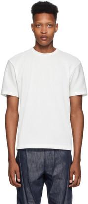 Issey Miyake White Tucked Stripe Short Sleeve T-Shirt