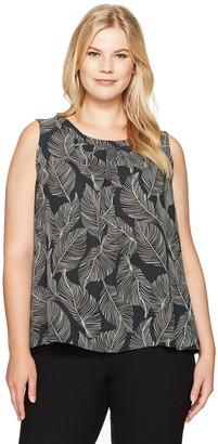 Kasper Women's Plus Size Printed Jewel Neck Cami