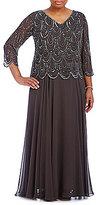 J Kara Plus V-Neck Beaded Gown